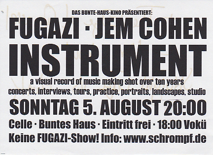 Www Bunteshaus De 05 08 2001 Film Fugazi