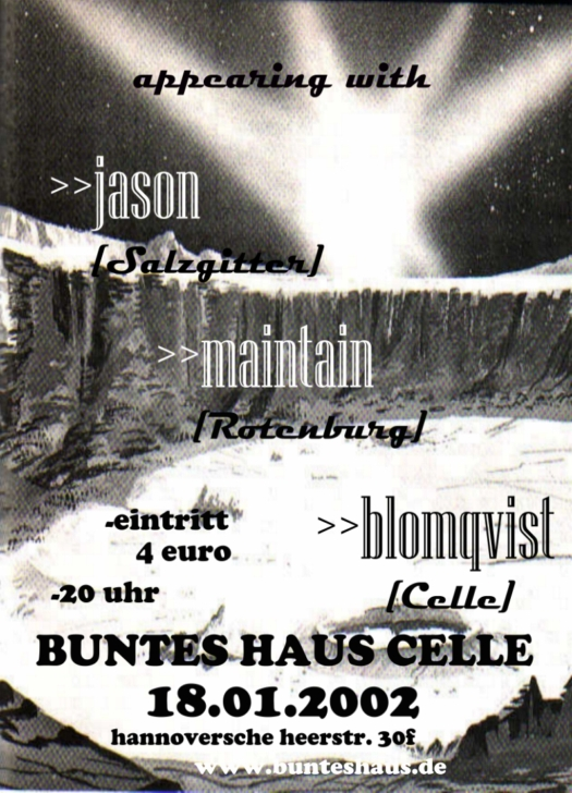 Www Bunteshaus De 18 01 2002 Konzert Jason Amp Maintain Amp Blomqvist