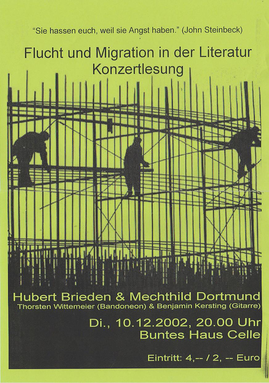 Www Bunteshaus De 10 12 2002 Konzertlesung Migration In Der Literatur